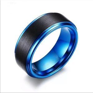 Trendy Men's Black Blue Stainless Steel Ring band